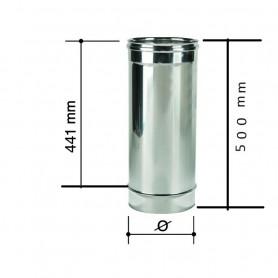 Canna Fumaria Monoparete Acciaio Inox 120 spessore 0,4mm lun 500 mm