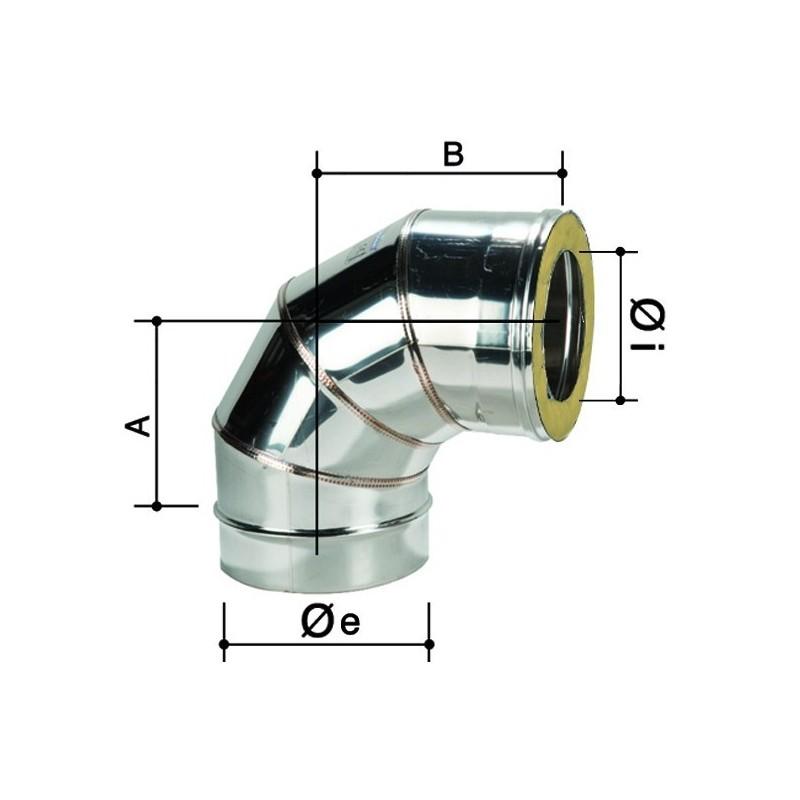 Curva 90 doppia parete in acciaio inox for Canna fumaria inox bricoman