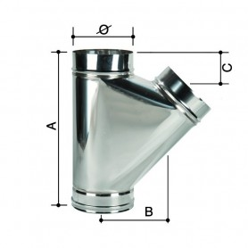 Raccordo a T Monoparete Acciaio Inox         ART.3304055224080