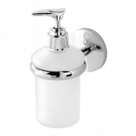 Dispenser Bagno in Acciaio Cromato e Vetro   Serie Bora ART.607019