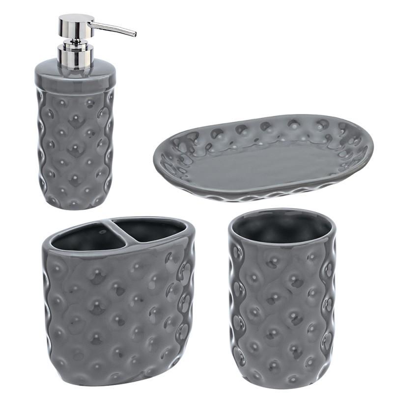 Set Bagno 4 Pezzi.Set Ceramica 4 Pezzi Serie America Grigio Art 880003 033915