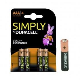 Batteria Duracell Simply 1,5V Ministilo AAA Blister 4 Batterie ART.DU031