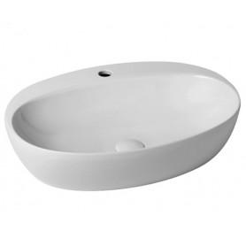 Lavabo da Appoggio con Foro in Ceramica      Bianca 60cm Modello Circle Azzurra